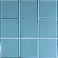 "Crystal-A 4"" x 4"" Glass Mosaic in Glossy Light Blue"