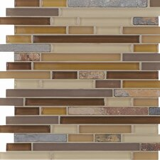 "<strong>Casa Italia</strong> Pure & Natural 11.75"" x 11.75"" Natural Stone and Glass Mosaic in Pure Beige and Natural Slate"
