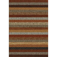 Woodstock Brown / Red Striped Contemporary Rug