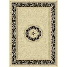 Noble Art Ivory Black Medallion Traditional Rug