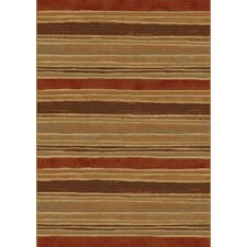Galleria Beige Red Striped Modern Rug