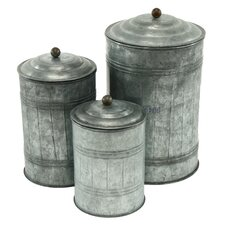 3 Piece Galvanized Metal Canister Set
