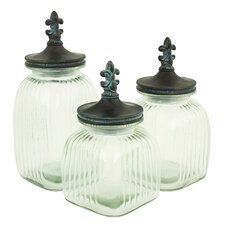 Riley 3 Piece Glass Jars with Lids Set