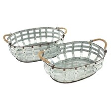 Hudson 2 Piece Metal Basket Set