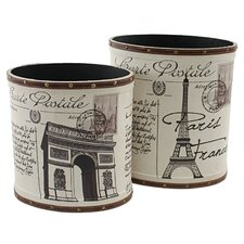 2 Piece Paris Trash Canister Set