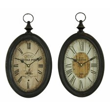 Lorina 2 Piece Oval Wall Clock Set (Set of 2)