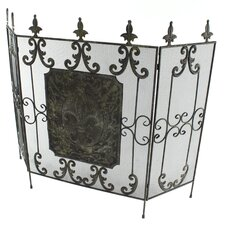 Fleur De Lis Norwalk 3 Panel Metal Fireplace Screen