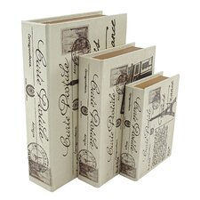 3 Piece Paris Faux Book Box Set