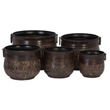 Round Metal Planters (5 Piece Set)