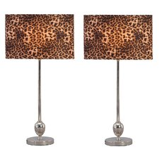"Cheetah 25"" H Table Lamp with Drum Shade (Set of 2)"