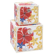 Colorful Floral Storage Trunk (Set of 2)