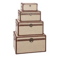 Rectangular Burlap Trunks 4 Piece Set