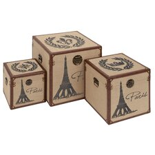 Paris Burlap Trunks (Set of 3)