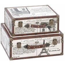 Paris Decorative Suitcase Trunks 2 Piece Set