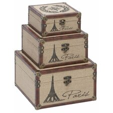 Eiffel Tower Burlap Trunks (Set of 3)