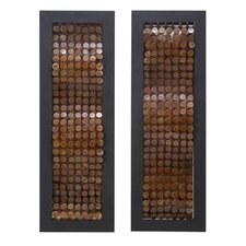 Abstract Copper Metal Wall Plaque (Set of 2)