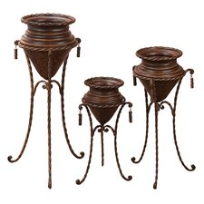 Decorative Round Planters with Stand (Set of 3)
