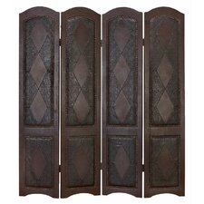 Dark Brown Four Panel Room Divider