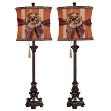 "Valencia Buffet 33"" H Table Lamp with Drum Shade (Set of 2)"