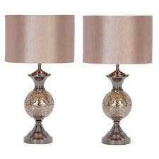 """Hettie 25"""" H Table Lamp with Drum Shade (Set of 2)"""