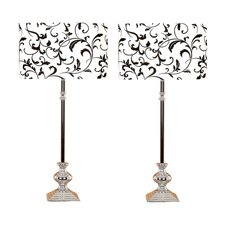 """Makea 38"""" H Table Lamp with Drum Shade (Set of 2)"""