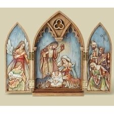 Wood Look Triptych Holy Figurine