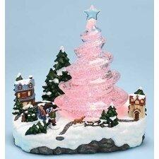 LED Swirl Tree Town Scene Figurine