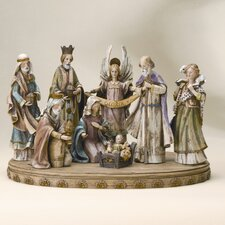 "17"" Eight Piece Wood Like Nativity Set"