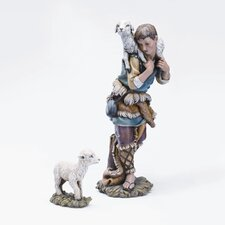 <strong>Roman, Inc.</strong> Two Piece Shepherd and Lamb Figurine Set