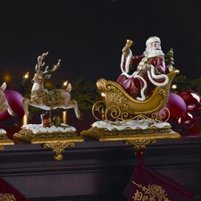 "20.5"" Two Piece Santa with Deer Stocking Holder Set"