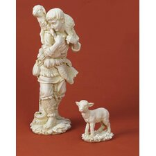 2 Piece Shepherd and Lamb Figurine