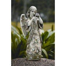 Garden Angel with Hummingbird Figurine