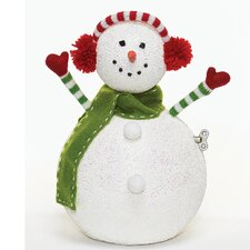 Musical Snowman Figurine with Earmuff