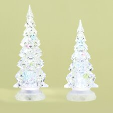 2 Piece Saint LED Confetti Tree Figurine