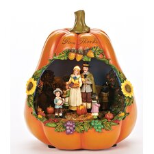Musical LED Give Thanks Pumpkin Figurine