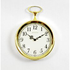 Pocket Watch Wall Clock in Bright Goldtone
