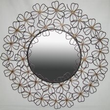 Wall Mirror with Goldtone Flowers