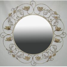 Wall Mirror with Birds in Distressed Off White Matte Antiqued Finish
