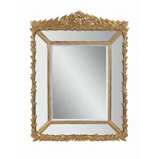 Decorative Leaf and Floret Patterned Rectangular Mirror