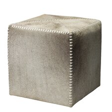 Cross Stitch Leather Cube Ottoman