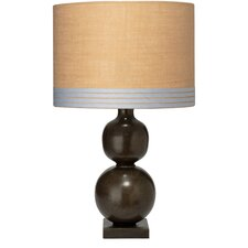 Double Ball Table Lamp with Banded Drum Shade
