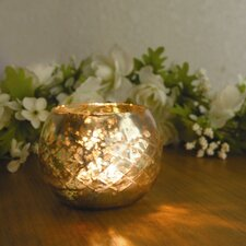 Champagne Etched Glass Diamond Shaped Votive