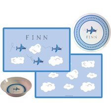 Kids Tabletop Airplanes Plate and Placemat Set