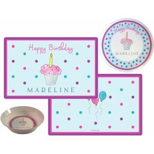 Kids Tabletop Birthday Cupcake Plate and Placemat Set