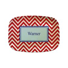 "Everyday Tabletop 14"" Red Chevron Rectangular Platter"