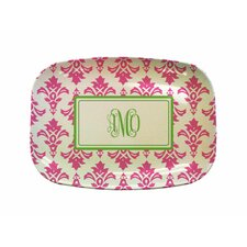 "Everyday Tabletop 14"" Pink Damask Rectangular Platter"