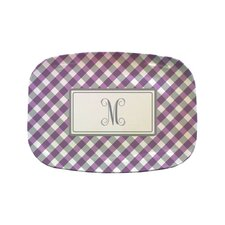 "Everyday Tabletop 14"" Purple Gingham Rectangular Platter"