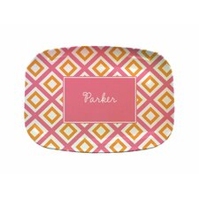 "Everyday Tabletop 14"" Geo Pink Rectangular Platter"