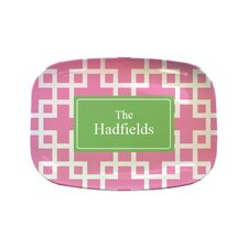 "Everyday Tabletop 14"" Squared Pink Rectangular Platter"