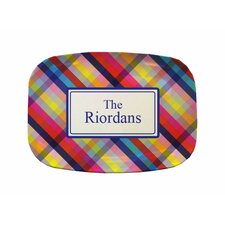 "Everyday Tabletop 14"" Bright Gingham Rectangular Platter"